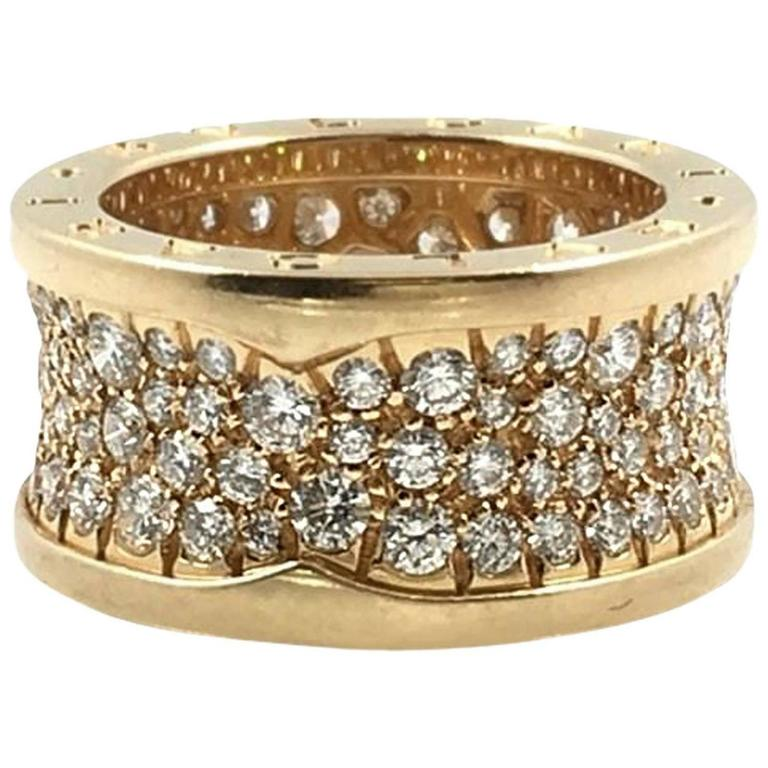 bvlgari b zero1 pink gold ring w pav 233 diamonds size 5 5