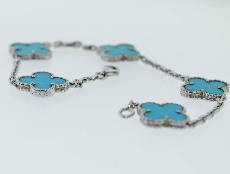 Van Cleef & Arpels Turquoise White Gold Vintage Alhambra 5 Motif Bracelet 3