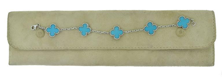 Van Cleef & Arpels Turquoise White Gold Vintage Alhambra 5 Motif Bracelet 4