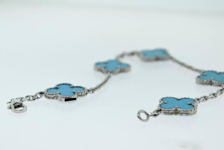 Van Cleef & Arpels Turquoise White Gold Vintage Alhambra 5 Motif Bracelet 7