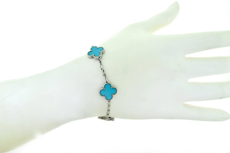 Van Cleef & Arpels Turquoise White Gold Vintage Alhambra 5 Motif Bracelet 6