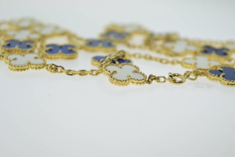 Van Cleef & Arpels Alhambra Lapis Lazuli & White Coral 20 Motif Necklace 4