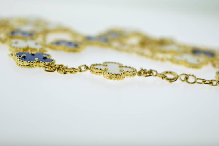 Van Cleef & Arpels Alhambra Lapis Lazuli & White Coral 20 Motif Necklace 5