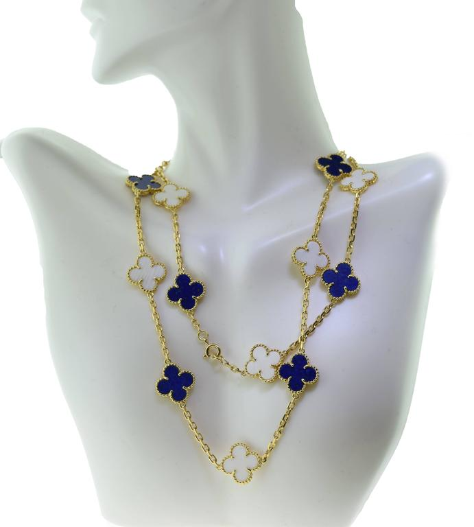Van Cleef & Arpels Alhambra Lapis Lazuli & White Coral 20 Motif Necklace 3