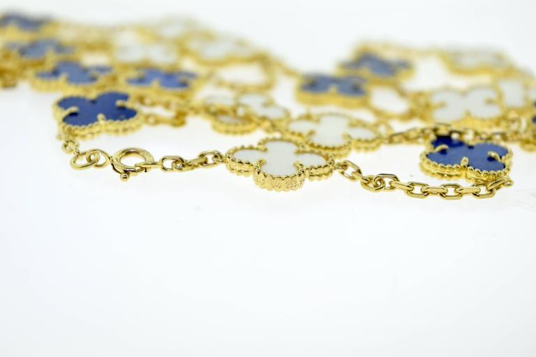 Van Cleef & Arpels Alhambra Lapis Lazuli & White Coral 20 Motif Necklace 6
