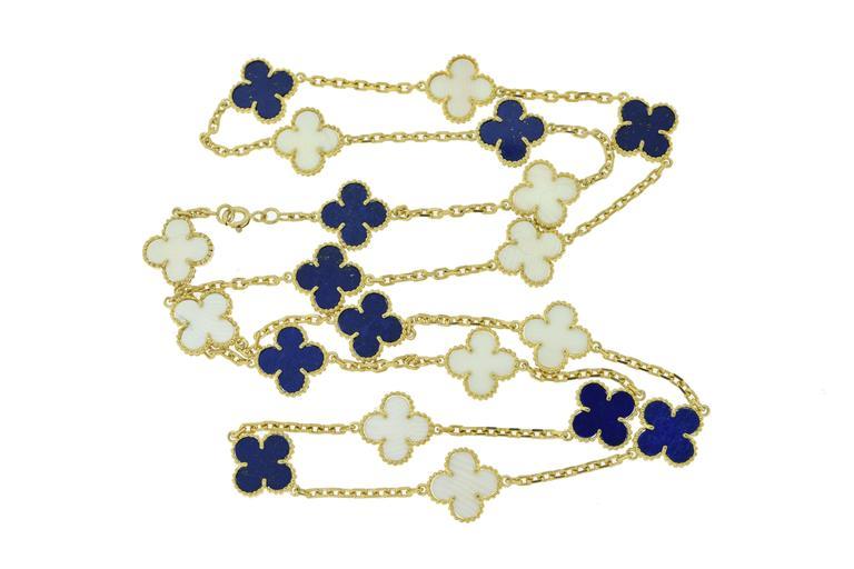 Van Cleef & Arpels Alhambra Lapis Lazuli & White Coral 20 Motif Necklace 2