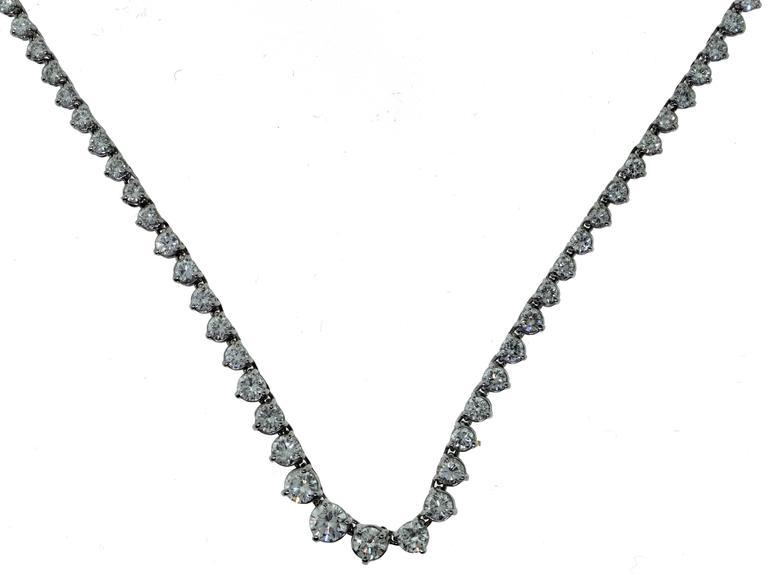 diamond graduated tennis necklace 18k white gold 11 carats