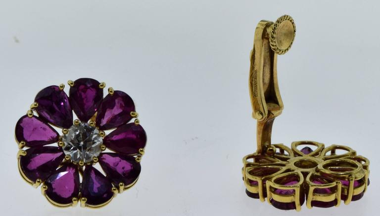 Estate Tiffany & Co. Ruby and Diamond Flower Earrings 3