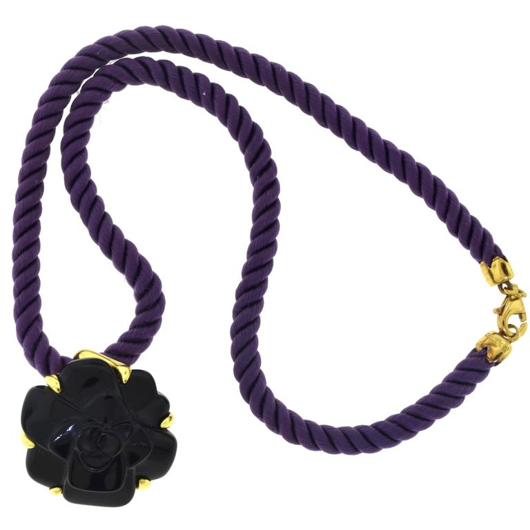 Chanel Camellia Carved Black Onyx Flower Pendant Necklace Purple Silk Chain 2
