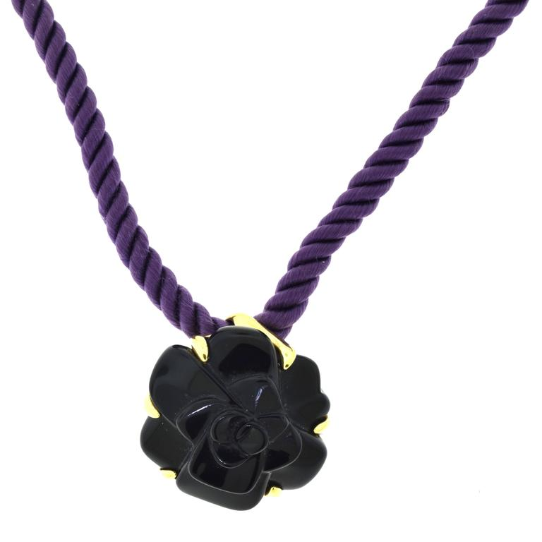 Chanel Camellia Carved Black Onyx Flower Pendant Necklace Purple Silk Chain 1