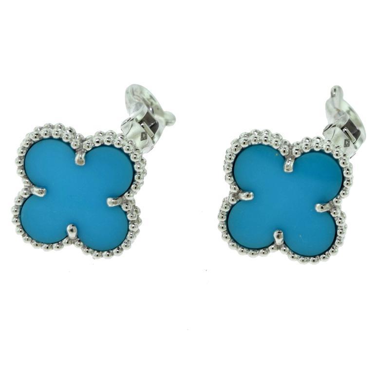 Serial Earrings: Van Cleef And Arpels Turquoise Vintage Alhambra Earrings
