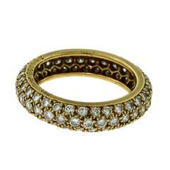 Vintage Cartier Pave Diamond Eternity Ring in 18 Karat Yellow Gold