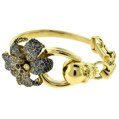 Gucci Flora Diamond and Sapphire Skull Bracelet in 18 Karat Yellow Gold