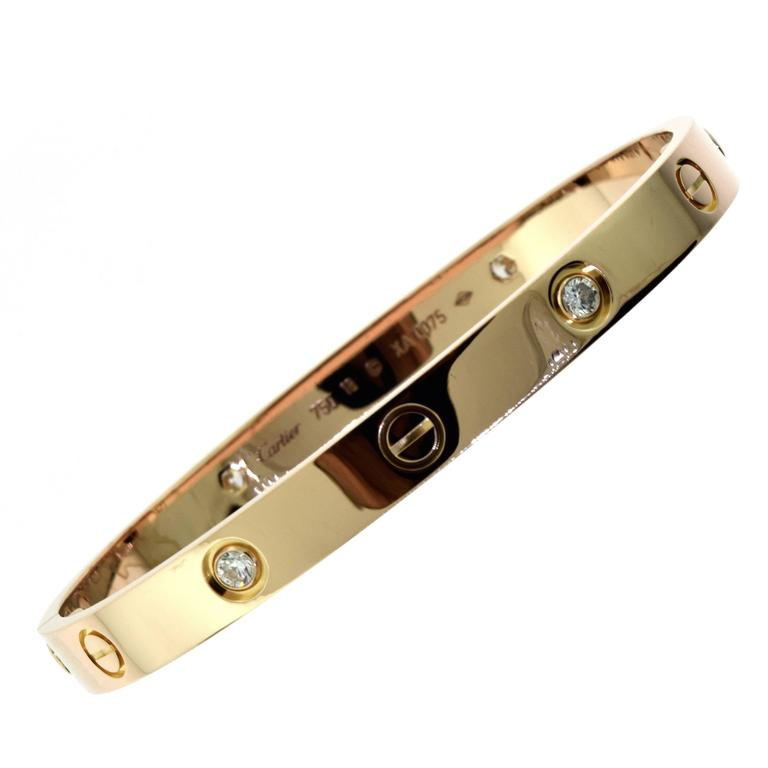 Cartier Love Bracelet in 18 Karat Rose Gold with Four Diamonds with Certificate For Sale