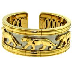 """Estate Cartier Walking Panther """"Pharaon"""" 18 Karat Yellow & White Gold Wide Cuff"""