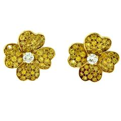 Van Cleef & Arpels Lg. Yellow Diamond Cosmos Flower Earrings Diamond Centre