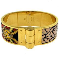 Hermes Cavalcadour à Cheval Wide Hinged Bracelet in Enamel, Size S