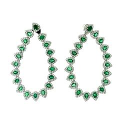 Colombian Emerald and Diamond Flexible Spray Hoop Long Earrings, 4.22 Carat