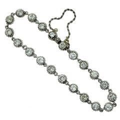 Vintage Round Diamond Basket-Set White Gold Tennis Bracelet
