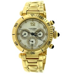 Cartier Yellow Gold Pasha Chronograph Automatic Wristwatch Ref 2111