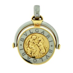 Bvlgari Rotating Gold and Steel Flip Zodiac Boy and Unicorn Aquarius Pendant