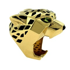 "Cartier ""Panthère de Cartier"" Yellow Gold Large Ring with Onyx Peridots Lacquer"