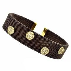 Sabbadini Adjustable Brown Mesh Copper Yellow Gold Diamond Cuff Bracelet
