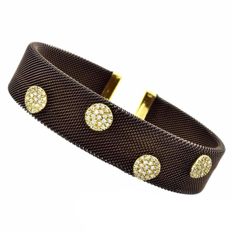 Sabbadini Adjustable Brown Mesh Copper Yellow Gold Diamond Cuff Bracelet 1