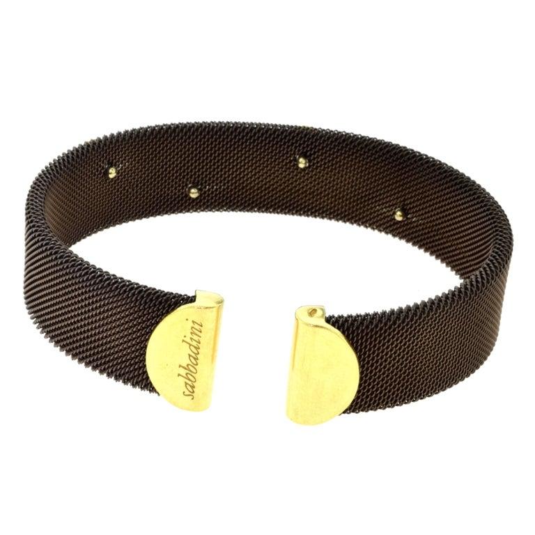 Sabbadini Adjustable Brown Mesh Copper Yellow Gold Diamond Cuff Bracelet 3