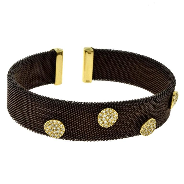 Sabbadini Adjustable Brown Mesh Copper Yellow Gold Diamond Cuff Bracelet 4