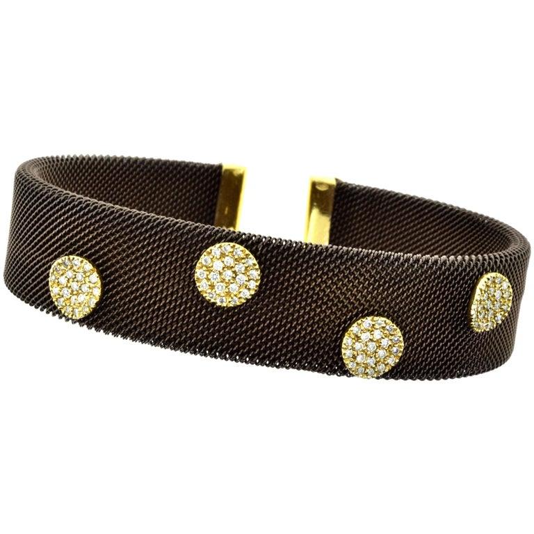 Sabbadini Adjustable Brown Mesh Copper Yellow Gold Diamond Cuff Bracelet 5