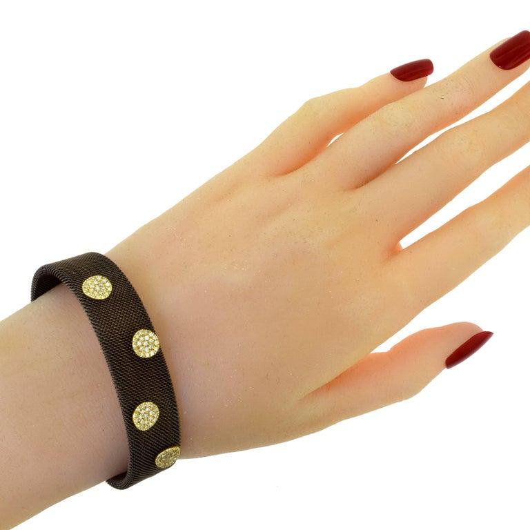 Sabbadini Adjustable Brown Mesh Copper Yellow Gold Diamond Cuff Bracelet 2
