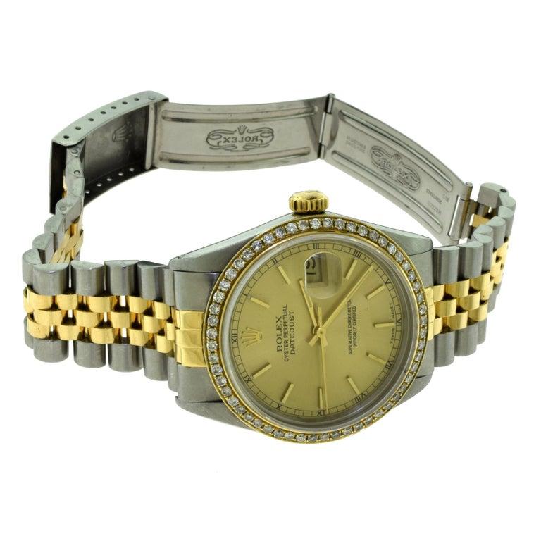 Rolex Yellow Gold Stainless Steel Diamond Bezel Datejust Automatic Wristwatch 3