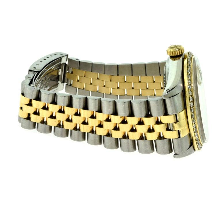 Rolex Yellow Gold Stainless Steel Diamond Bezel Datejust Automatic Wristwatch 6