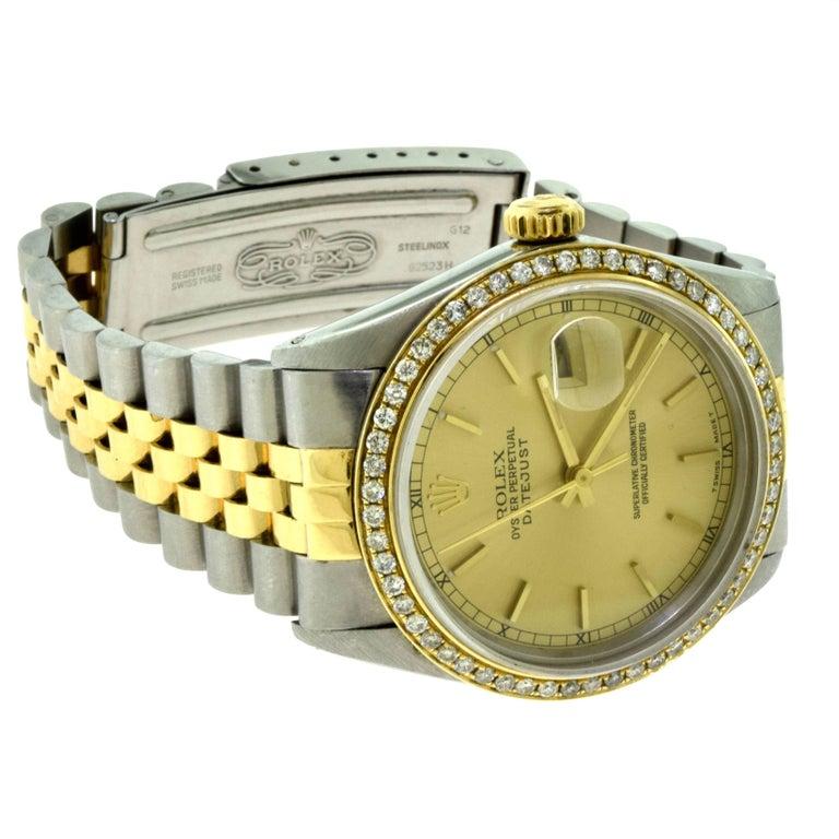Rolex Yellow Gold Stainless Steel Diamond Bezel Datejust Automatic Wristwatch 2