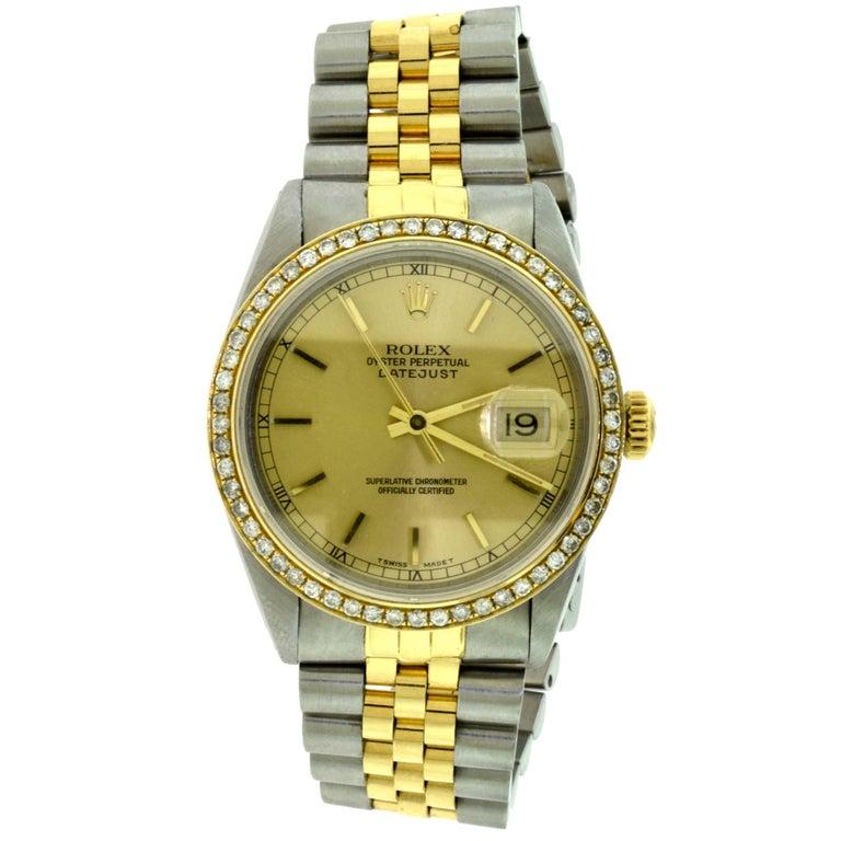 Rolex Yellow Gold Stainless Steel Diamond Bezel Datejust Automatic Wristwatch 1