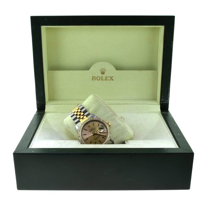 Rolex Yellow Gold Stainless Steel Diamond Bezel Datejust Automatic Wristwatch 7