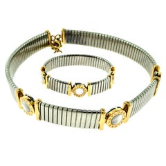 Bvlgari Tubogas Steel, Gold and Mother of Pearl Choker and Bracelet Set