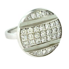 Chaumet White Gold Diamond Round Top Cocktail Ring
