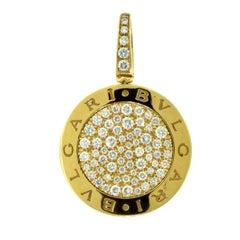 """Bvlgari """"Bvlgari-Bvlgari"""" Rose Gold Pave Diamond Round Pendant"""