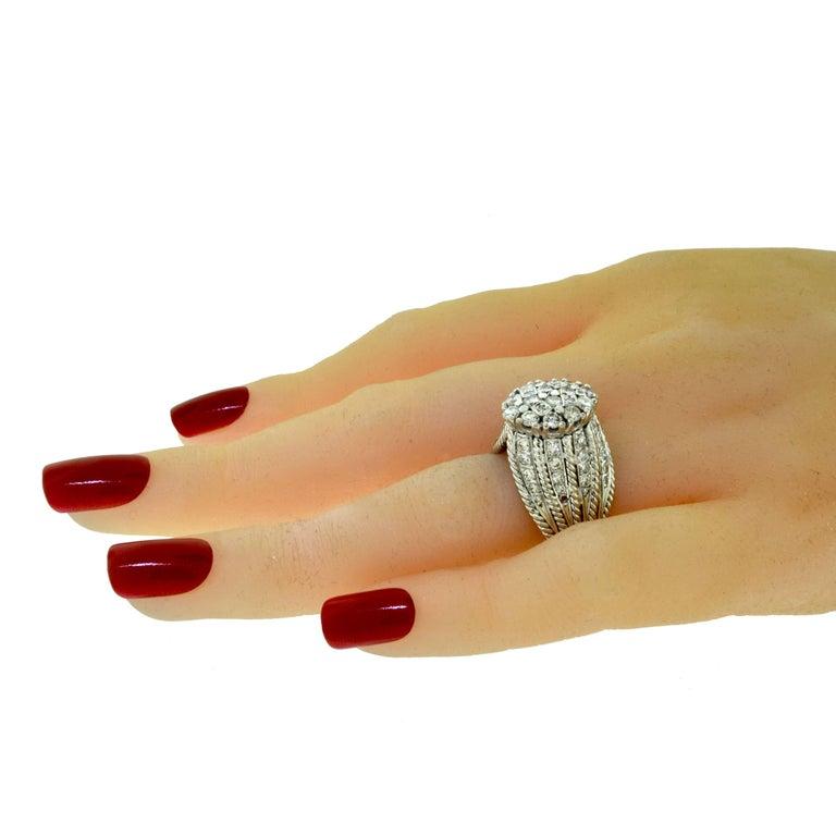Estate 18 Karat White Gold Diamond Cluster Fancy Large ...