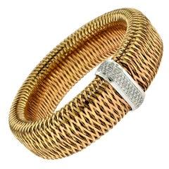 Roberto Coin 18 Karat Rose Gold Primavera Diamond Flexible Bracelet