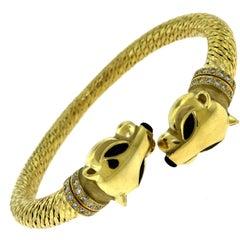 Cartier Panthère De Cartier Double Head Yellow Gold Diamond Onyx Bracelet