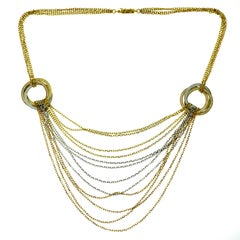 Cartier 18 Karat Three Color Gold Multi Strand Trinity Diamond Drape Necklace