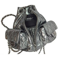 Chanel Mini Anthracite Silver Metallic Platinum Backpack