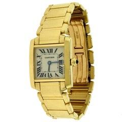 Cartier Yellow Gold Blue Hands Tank Française Quartz Wristwatch, Ref 1820