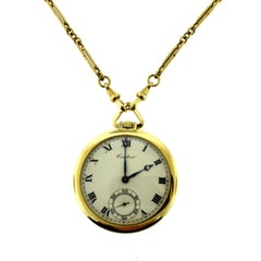 Cartier Yellow Gold Minute Repeater Pocket Watch with Chain
