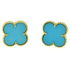 Van Cleef & Arpels Lg. Magic Alhambra Turquoise Earrings in 18 Karat Yellow Gold