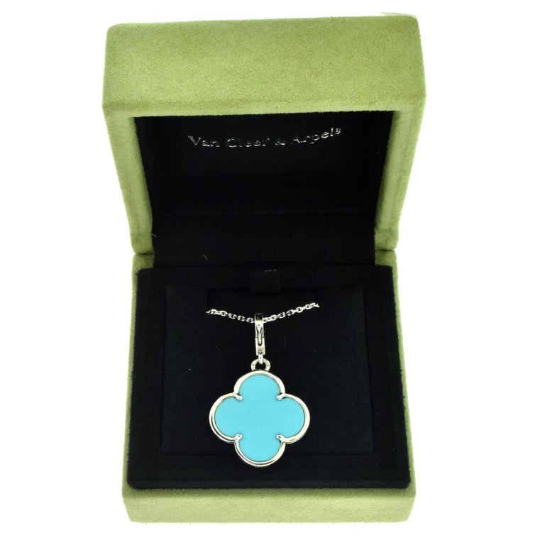 Van Cleef Arpels Lg Magic Alhambra Turquoise Pendant In White Gold