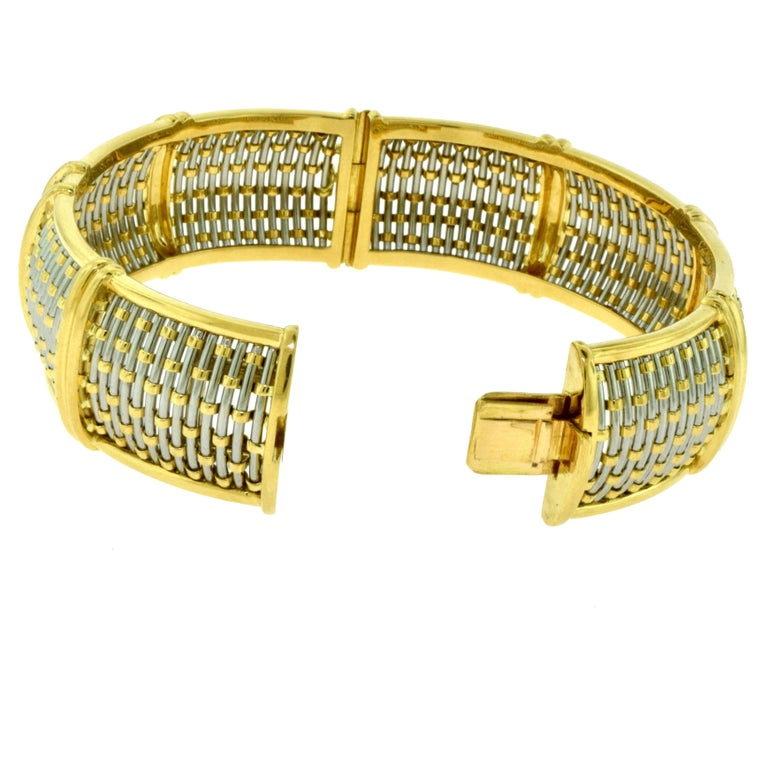 Cartier Yellow Gold and Steel Basket Weave Bangle with Diamonds For Sale 1